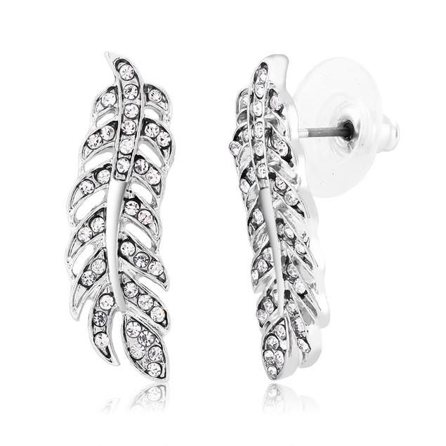 Cubic Zirconia Leaf Stud Earrings