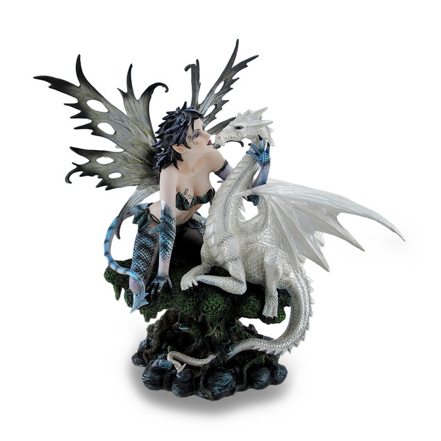 Blue Dragon Fairy W/Tail And White Snow Dragon Statues