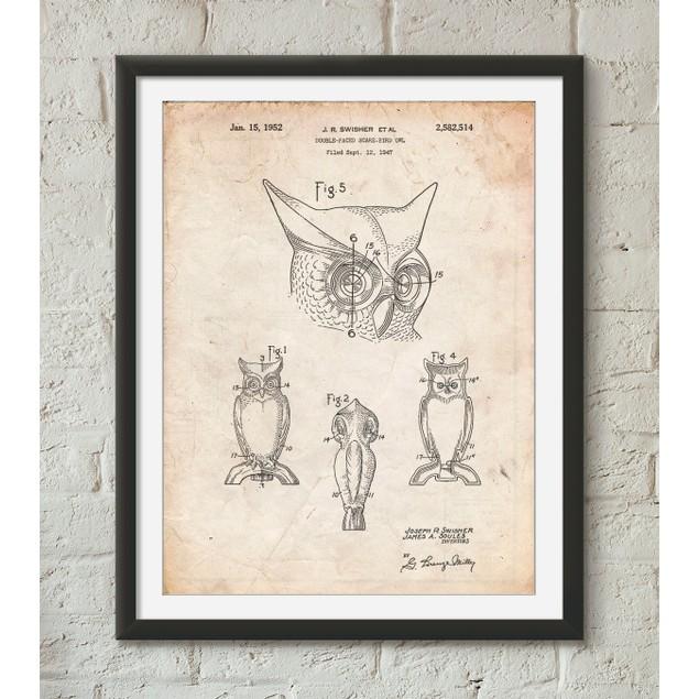 Owl Bird of Prey Patent Poster