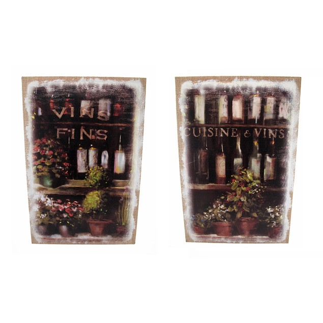Pair Of French Wine Bottles Printed Burlap Canvas Prints