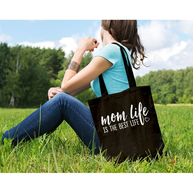 Mom Life Is the Best Life Black Tote Bag