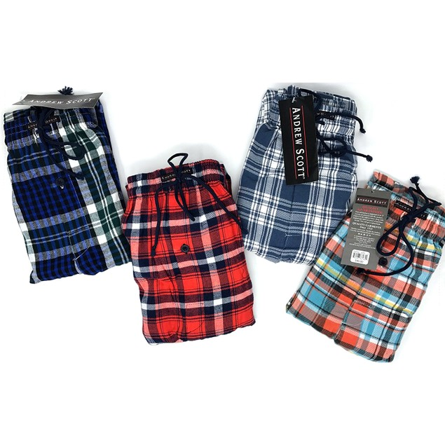 2-Pack Andrew Scott Men's Flannel Fleece Pajama Lounge