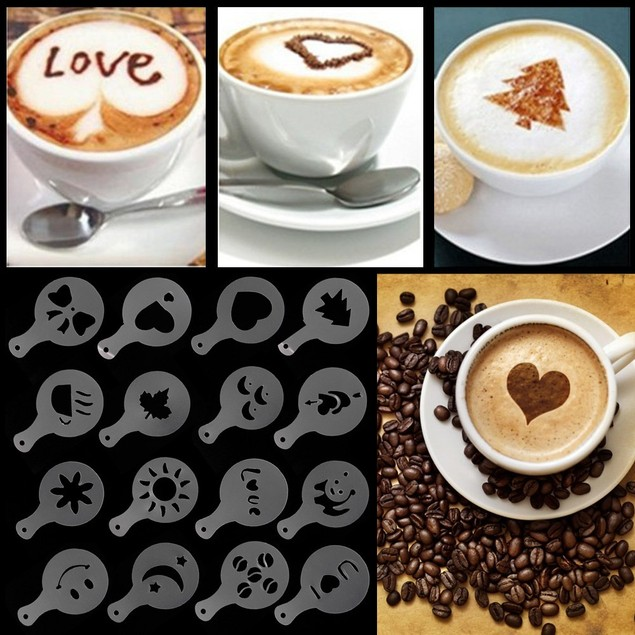 Coffee Barista Stencil 16 pc Set