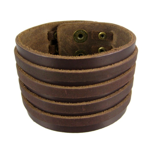 Brown Leather 4 Strip Chrome Studded Wristband Mens Leather Bracelets