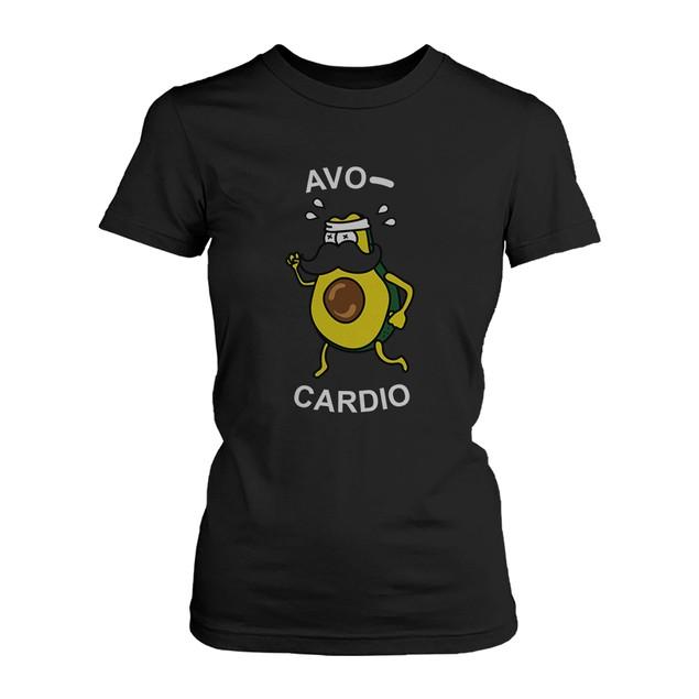 Avocardio Funny Women's Shirt Cute Work Out Tee Cardio Short Sleeve T-shirt
