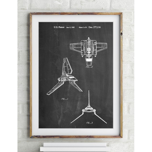 Star Wars Lambda Class T-4a Imperial Shuttle Patent Poster