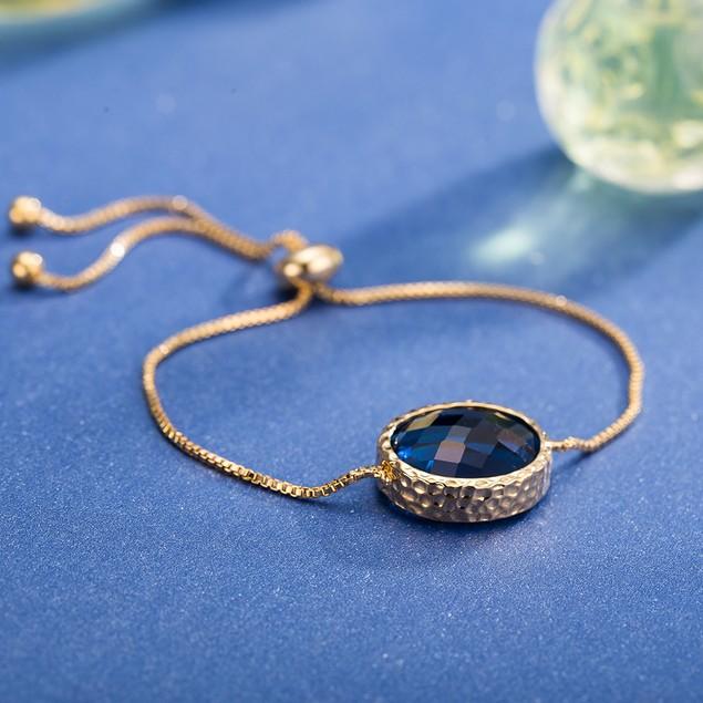 Gold Plated Circular Classic Sapphire Gem Bracelet
