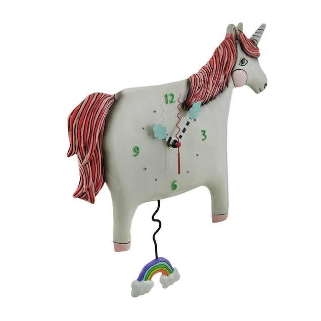 Buttercup Pink / White Unicorn Pendulum Wall Clock Wall Clocks