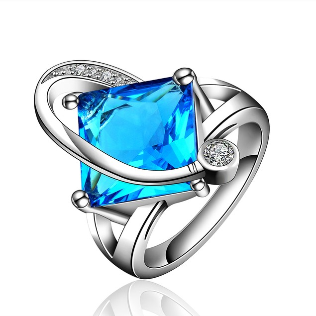 Imitation Sapphire Diamond Shaped Curved Ring