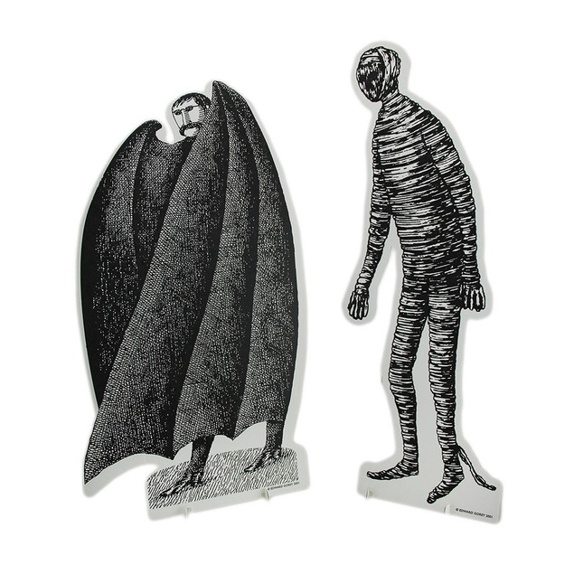 Set Of 2 Black & White Edward Gorey Vampire And Statues