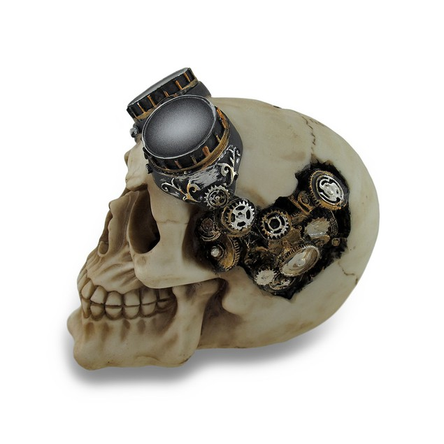 Steampunk Mechanical Skull Sculptural Statue Gears Statues