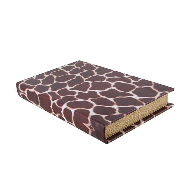 Giraffe Print Faux Leather Book Secret Stash Box Decorative Boxes