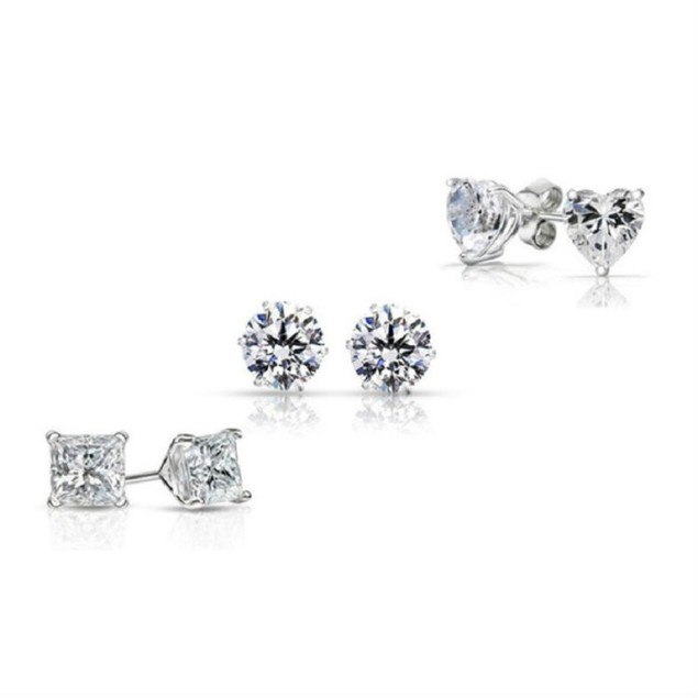 3-Pack: Sterling Silver Cubic Zirconia Stud Earring Set