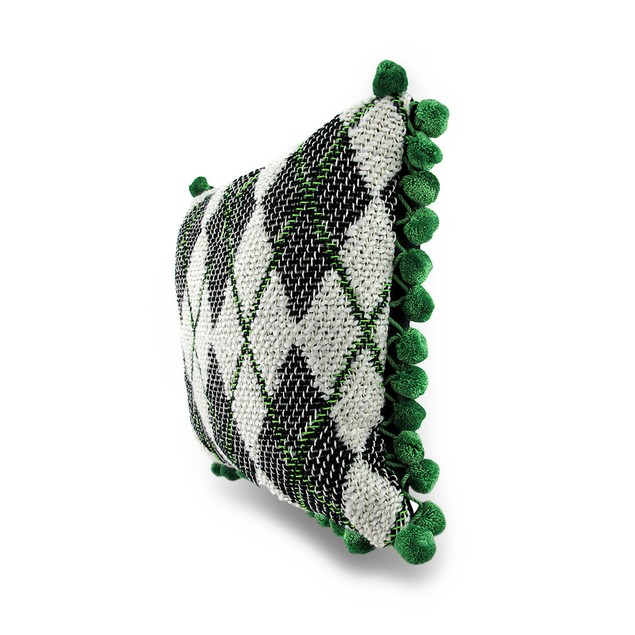 Green, Black And White Argyle Ball Fringe Accent Throw Pillows