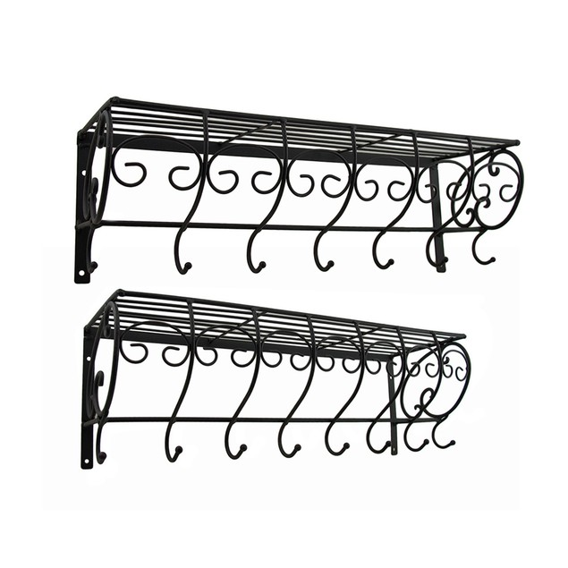 Set Of 2 Decorative Metal Wire Wall Hook Shelves Coat Hooks