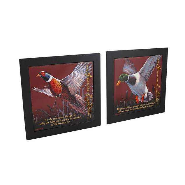 Set Of 2 Mallard / Pheasant Wildlife Wood Framed Trivets