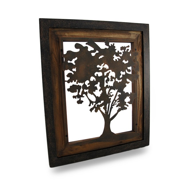 Metal Aged Finish Tree Silhouette On Wood Frame Wall Sculptures