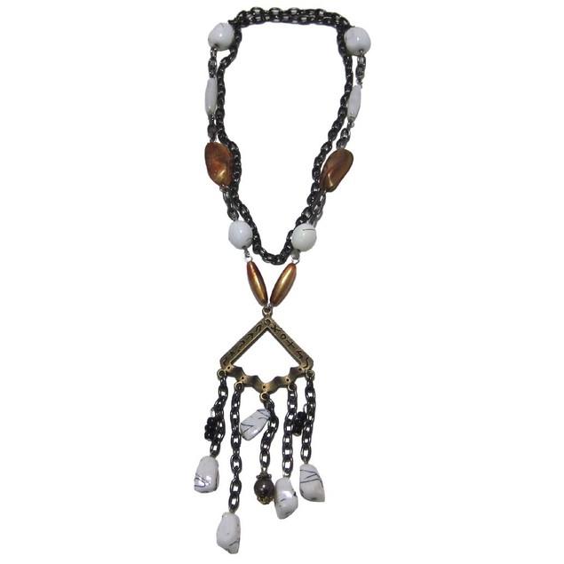 White Orange Bead Drop Fashion Necklace Brass Womens Pendant Necklaces