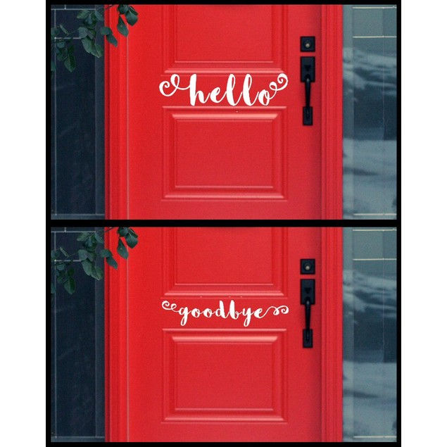 Hello Good Bye Door Decal Set