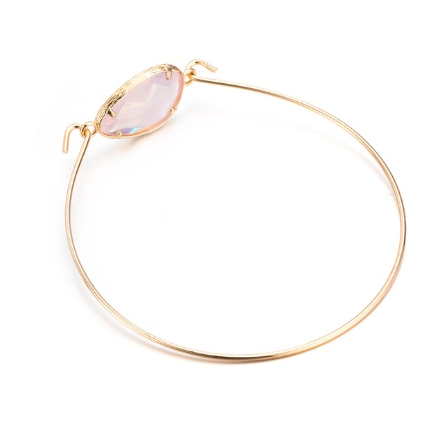 Gold Plated Coral Gem Bangle