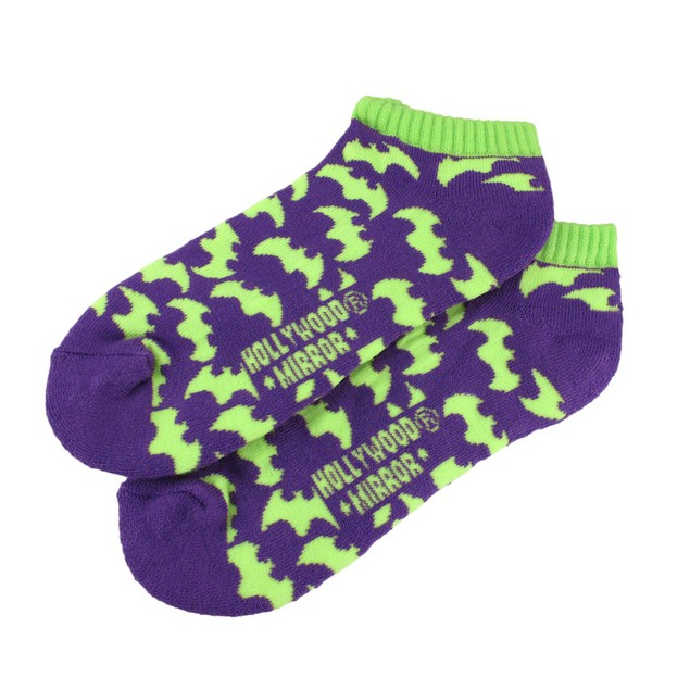 Women`S Purple And Lime Green Bat Heavy Ankle Womens Casual Socks