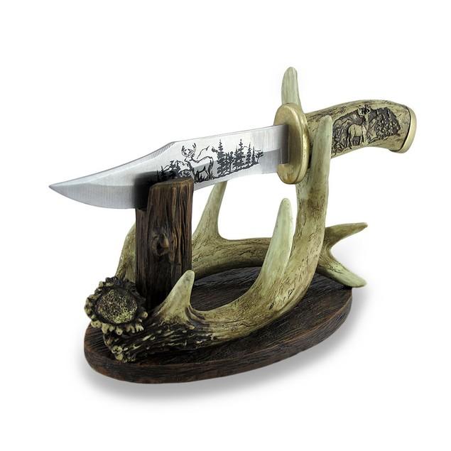 Carved Look Handle Decorative Deer Knife W/Antler Letter Openers