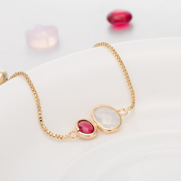 Gold Plated Duo Circular Ruby & Crystal Gem Bracelet