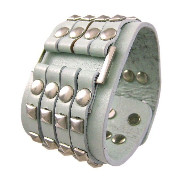 Gray Leather 4 Row Chrome Pyramid Stud Wristband Mens Leather Bracelets