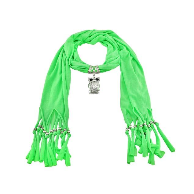 Neon Lime Green Rhinestone Owl Pendant Scarf Womens Fashion Scarves