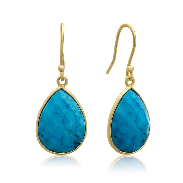 Gold Tone 12 Carat Turquoise Pear Shape Earrings
