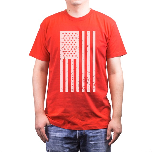 Distressed American Flag Independence Day Men's Red Shirt for 4th of July