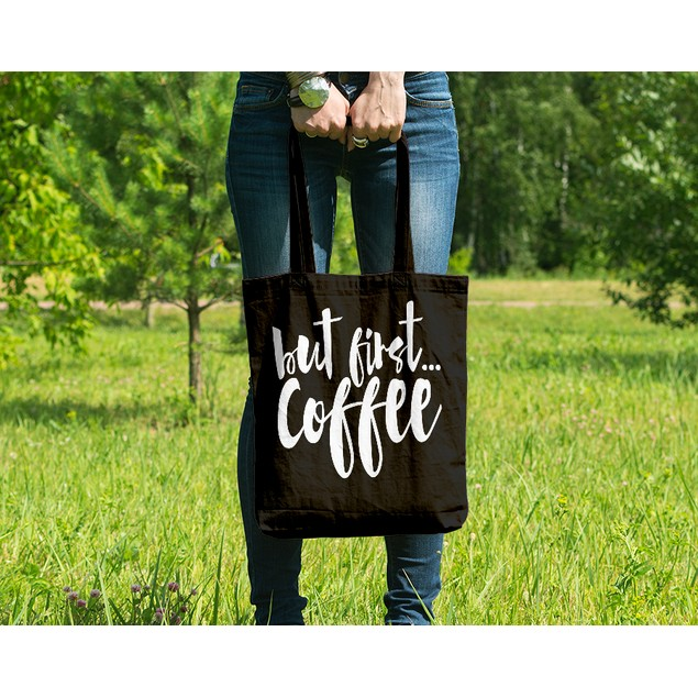 But First Coffee Black Tote Bag