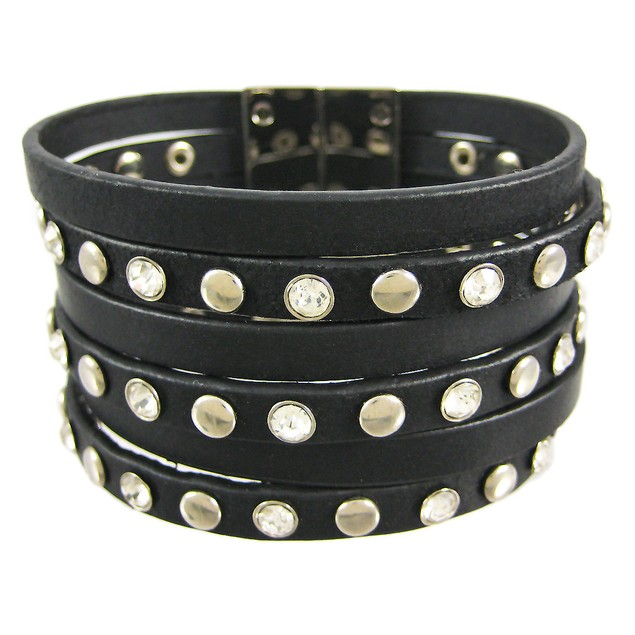 Black Leather Rhinestone Studded Strip Wristband Womens Leather Bracelets
