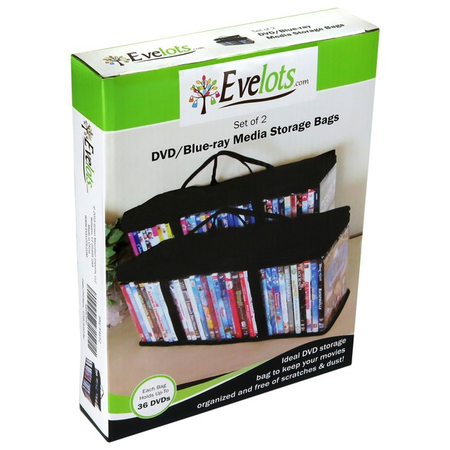 Evelots 2 DVD Blu-ray Media Storage Case Bags