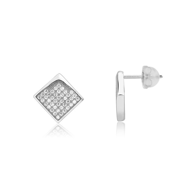 Sterling Silver Micro-Pave Square Diamond Stud Earrings
