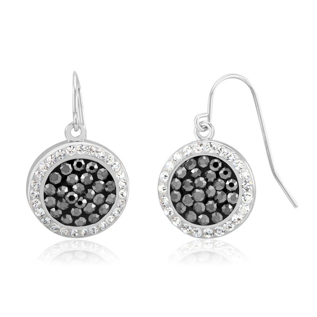 Gold Plated Sparkling Crystal Black & White Drop Earrings