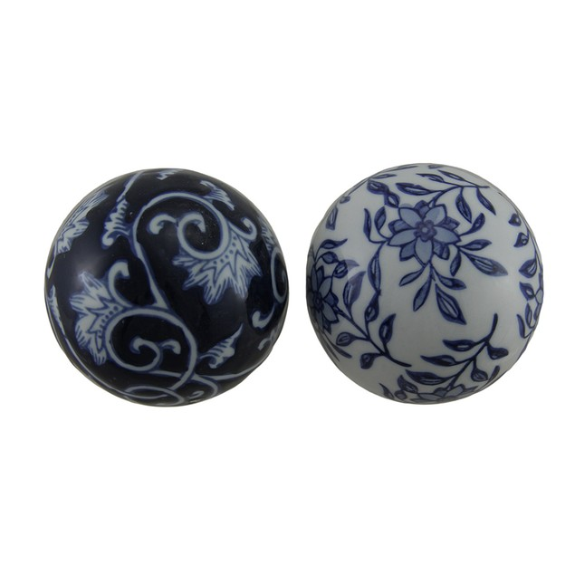 6 Piece Set Of Blue And White Toile Inspired Decorative Fruit And Balls
