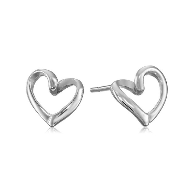 Designer Inspired White Gold Plated Open Heart Stud Earrings