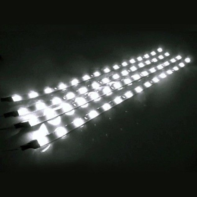 Zone Tech 4x White 30cm 15 LED Strips Car Decoration
