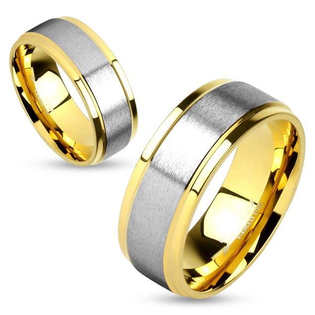 Two Tone Center Step Edge Gold IP Stainless Steel Couple Ring