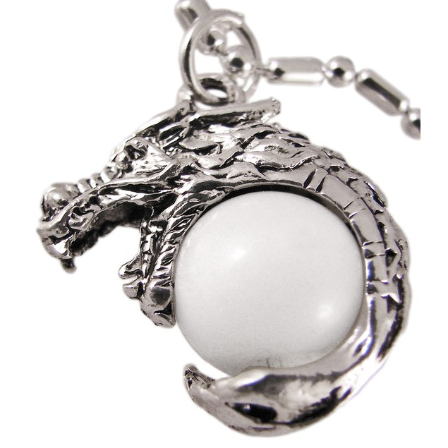 Rhodium Dragon White Marble Orb Pendant Bead Mens Pendant Necklaces