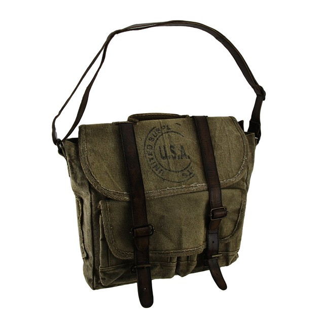 Vintage Inspired Usa Ink Stamp Cotton Canvas Mens Messenger Bags