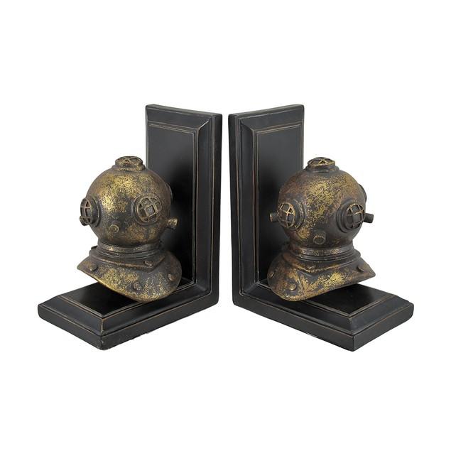 Pair Of Retro Mark V Deep Sea Diver Helmet Decorative Bookends