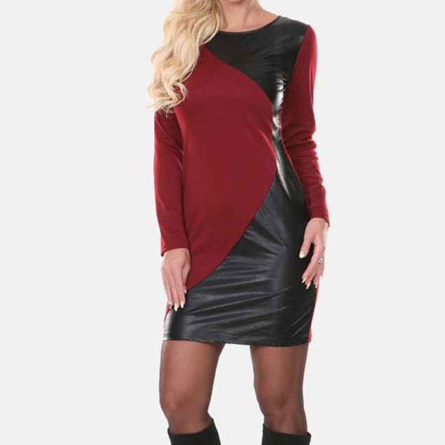White Mark Veronica Burgundy Edgy Panel Dress