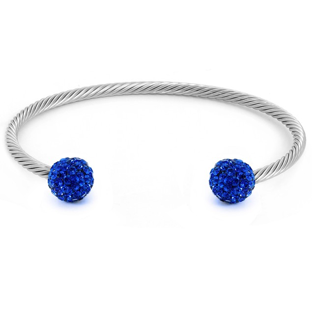 Colored Crystal Fireball Cuff Bracelets - 5 Colors