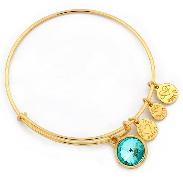 Gold Plated Forever Spirit Crystal Birthstone Charm Bracelet