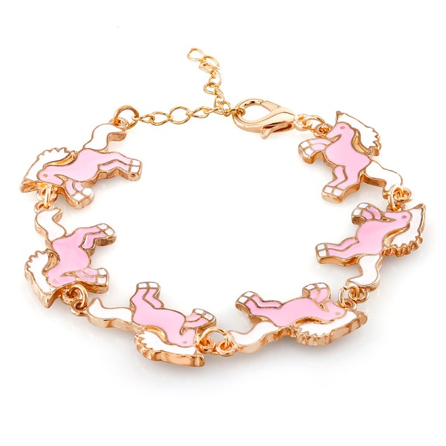 Kids Gold Plated Pony Enamel Bracelet