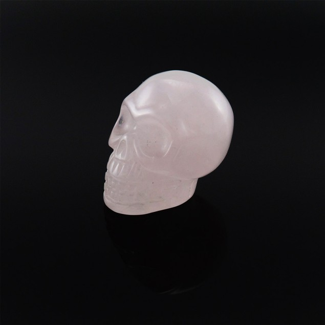 Beautiful Carved Rose Quartz Gemstone Skull 25Mm 1 Loose Gemstones