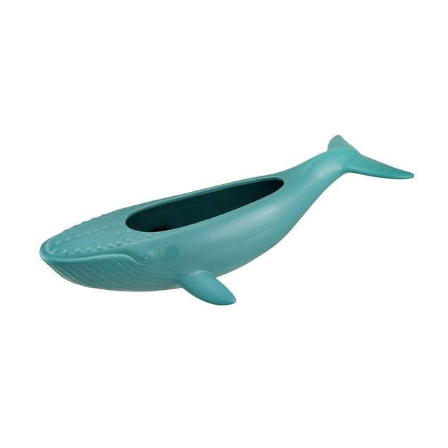 Green Ceramic Humpback Whale Statue And Planter 18 Decorative Vases