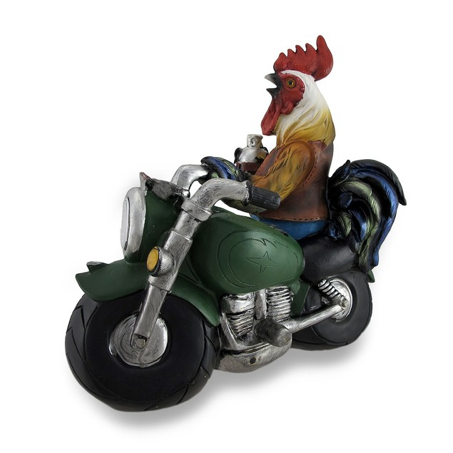 Country Rooster Resting On Motorcycle Led Solar Outdoor Figurine Lights